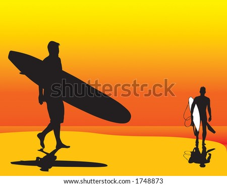Two surfer silhouette vectors that can be resized to any size. - stock vector
