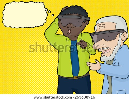 Two surprised men thinking about virtual reality - stock vector