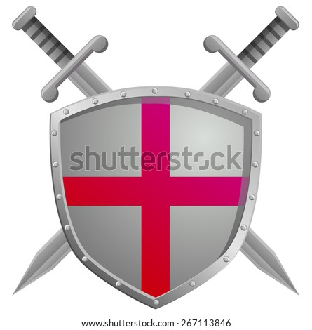 Two swords and a shield with cross - stock vector