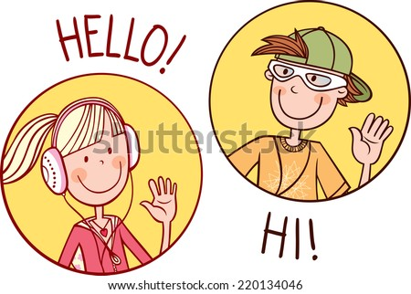 Two teenagers boy and girl greet each other. Vector illustration. - stock vector