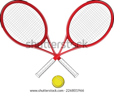Two Tennis rackets with yellow ball sports equipment symbols vector illustration.