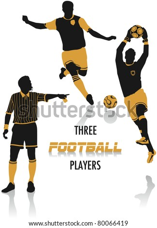 Two-tone silhouettes of three football players, part of a collection of lifestyle people - stock vector