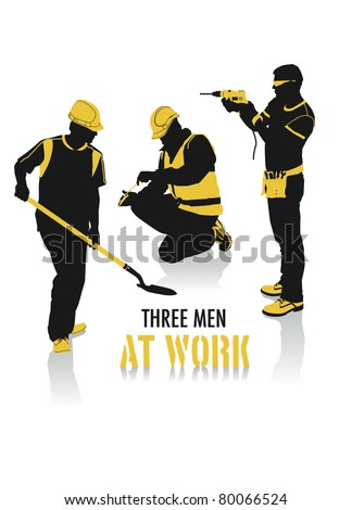 Two-tone silhouettes of three men at work, part of a collection of lifestyle people. - stock vector
