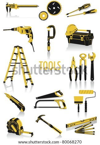 Two-tone silhouettes of tools, part of a new collection of lifestyle objects - stock vector