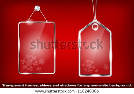 Two transparent glass Christmas price tags - vector file - stock vector
