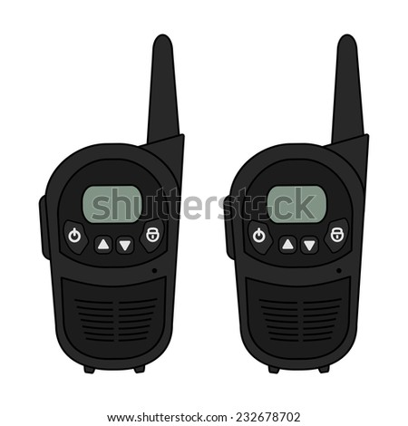 Two travel black portable mobile vector radio set devices. Color illustration isolated on white - stock vector
