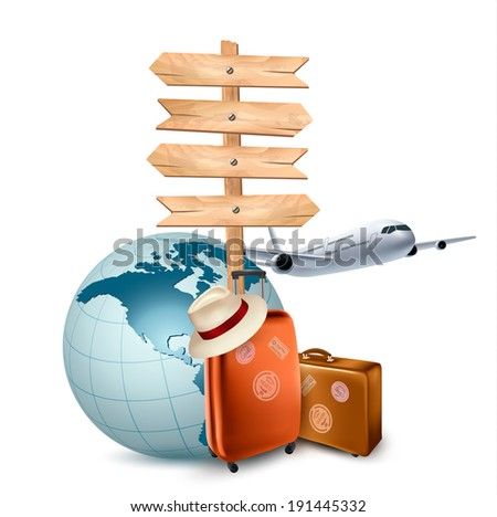 Two travel suitcases, a plane, a globe and a direction sign. Vector illustration.  - stock vector
