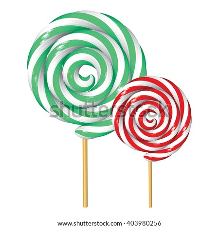 Two Twisted Lollipops Isolated on White. Low Poly Vector illustration. - stock vector