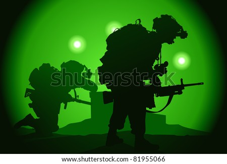 Two US soldiers used night vision goggles - stock vector