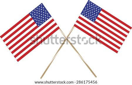 Two USA flags on white background. Vector format.