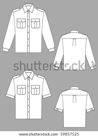 Two variants of shirts for the man with a long and short sleeve - stock vector