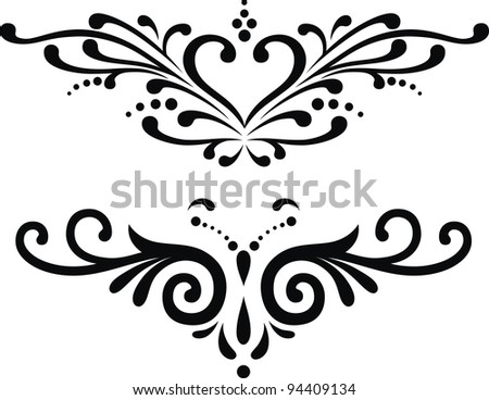 Two variants of tattoos in the form of the stylized heart - stock vector