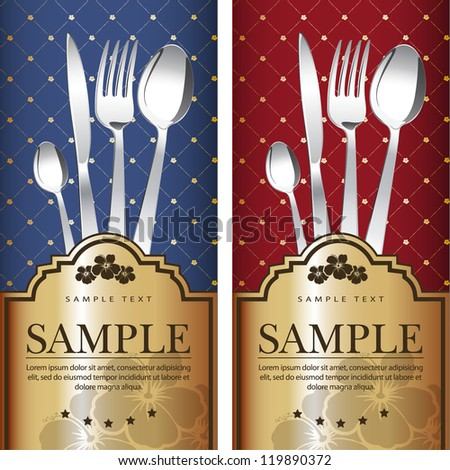 Two variants Royal restaurant menu design on blue and on red background with gold label. Vector. Grouped for easy editing. - stock vector