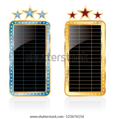 two vector black blank vertical cinema billboards - stock vector