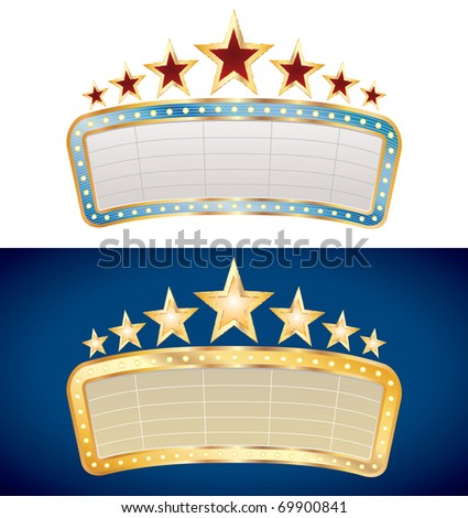 two vector blank billboards on different backgrounds - stock vector
