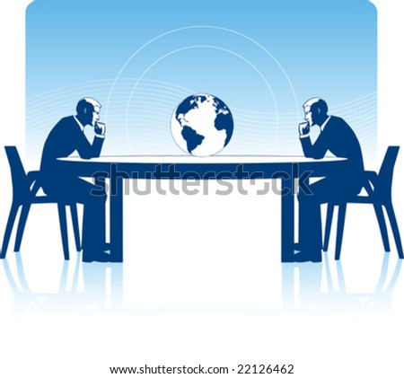 two Vector business man deeply in thought, observing an earth globe on a conference business table - stock vector