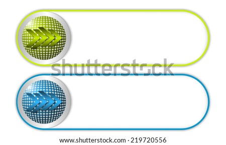 two vector buttons with grid and arrow - stock vector