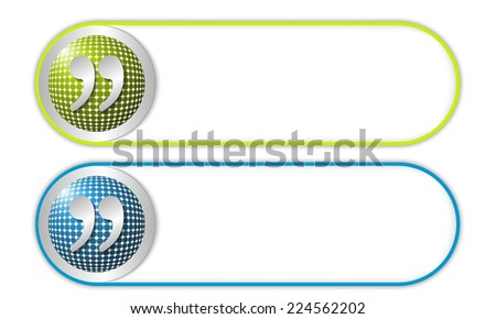 two vector buttons with grid and quotation mark - stock vector