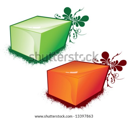 two vector color cubes decorated by patterns