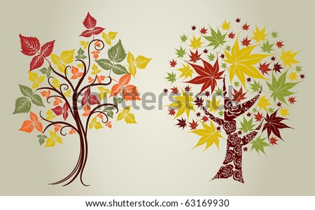 Two Vector designs grunge color trees from leafs. Thanksgiving - stock vector