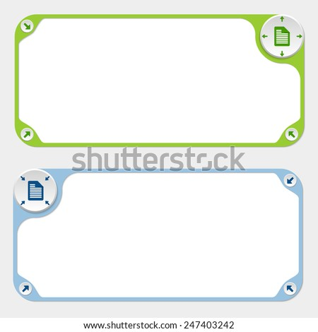 Two vector frames and arrows and document icon - stock vector