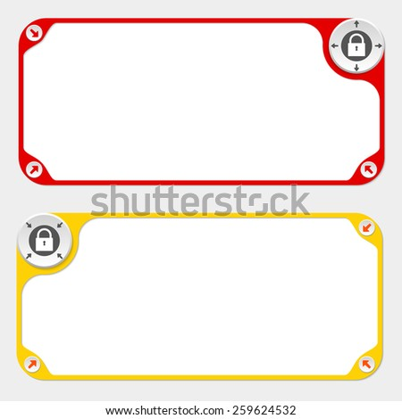 Two vector frames and arrows and padlock symbol - stock vector