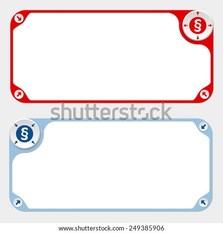 Two vector frames and arrows and paragraph - stock vector