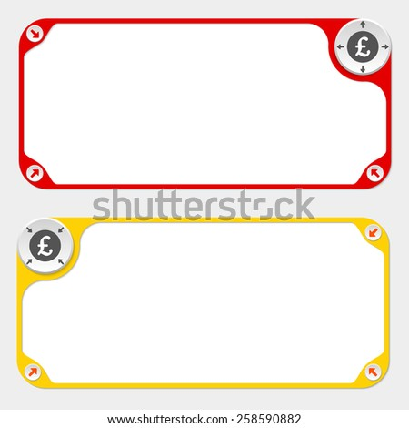 Two vector frames and arrows and pound sterling symbol - stock vector
