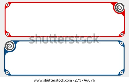 Two vector frames for your text and spiral - stock vector