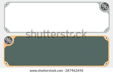 Two vector frames for your text and the symbol of percent - stock vector