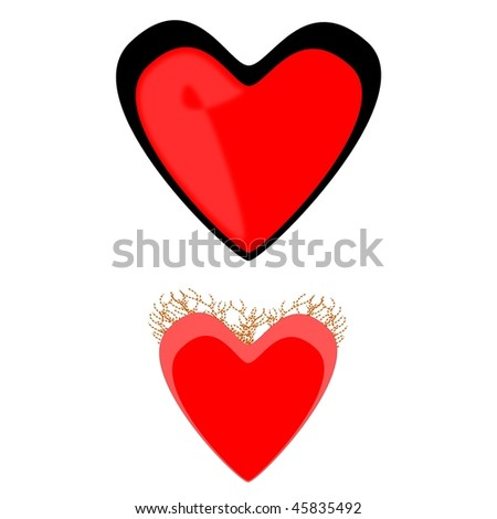 two vector hearts - stock vector