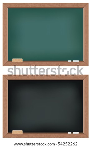 Two vector illustrations of blackboards - stock vector