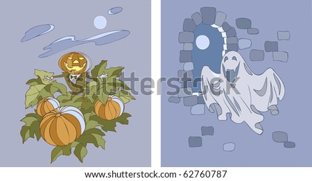 Two vector illustrations of halloween characters - Pumpkinhead and ghost - stock vector