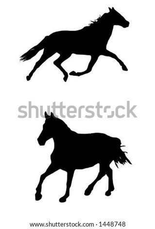 two vector illustrations of trotting horse silhouettes