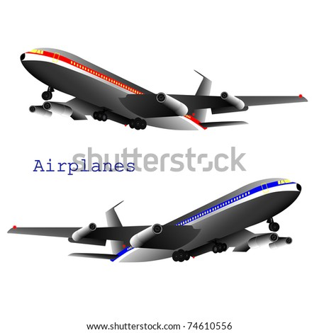 Two Vector Jets isolated on a white background, eps10 - stock vector