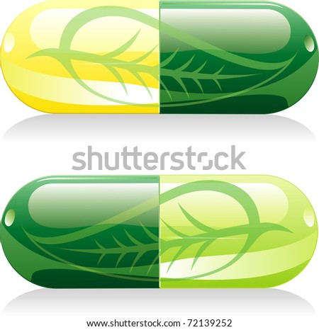 two vector natural pills with leaf - stock vector