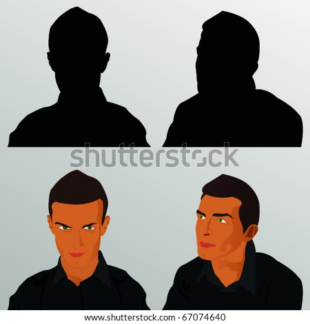 two vector portrait of the man - stock vector