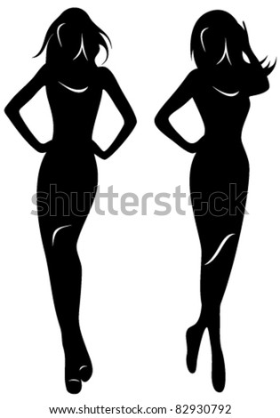 two vector silhouettes of beautiful women