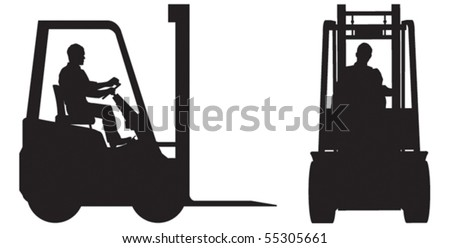 Two vector silhouettes of fork lift truck and operator - stock vector