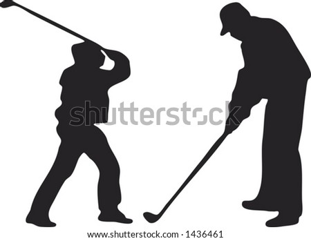 Two vector silhouettes of golfers