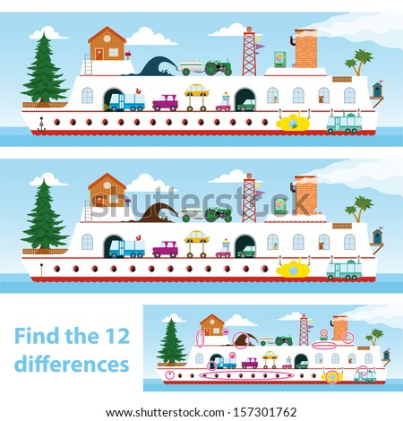 Two vector versions of a kids puzzle of a colourful ship for them to spot the 12 differences between the illustrations - stock vector