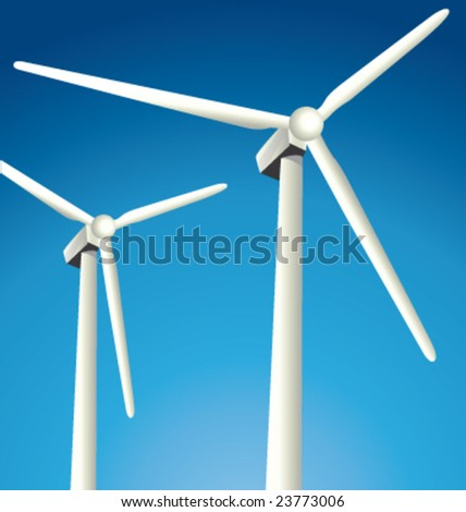 Two vector windmills on a nice blue sky - stock vector