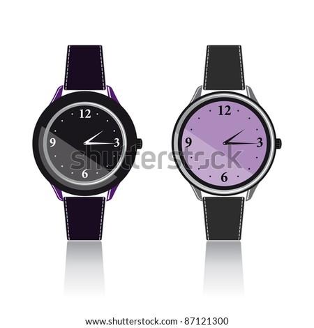 Two vector wristwatch - stock vector