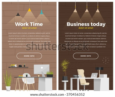 Two vertical banner with workplace. - stock vector