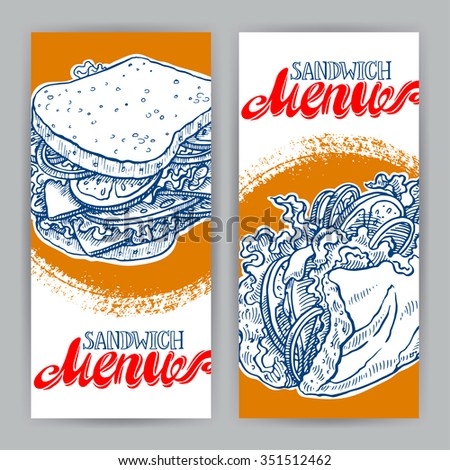 Two vertical banners with delicious sandwiches. hand-drawn illustration