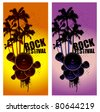 two vertical poster with summer music scene - stock vector