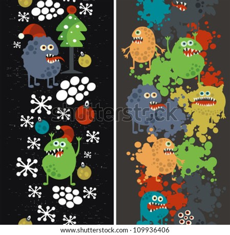 Two vertical seamless patterns with monsters, paint and snow. Vector texture. - stock vector