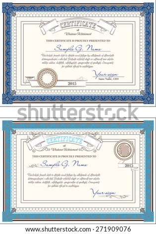 two vintage backgrounds for certificate with detailed border and additional design elements - stock vector