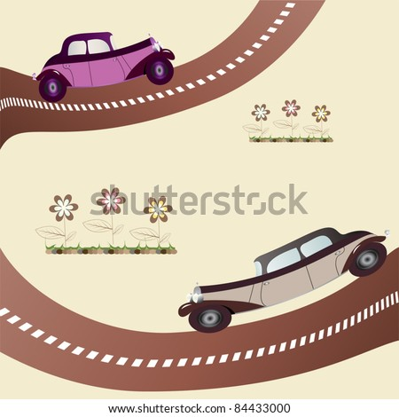 two vintage cars on the road - stock vector