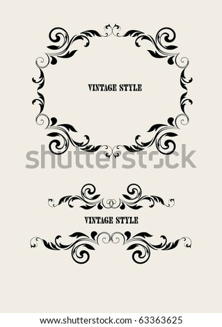 two vintage frames - stock vector